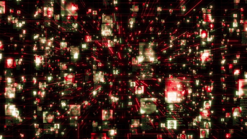 AI concept footage of social network as a stream of unrecognizable people portraits moving along bright red network grid in black internet cyberspace background. Business, technology or social media motion background. 3d rendering 4K video.